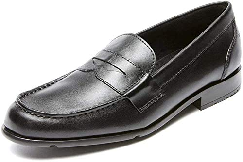 Rockport mens Classic Penny Loafer, Black/Black, 9 M US