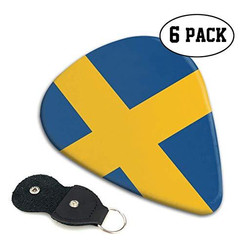 Zweden Vlag 351 Vorm Klassieke Celluloid Gitaar Picks voor uw elektrische, akoestische, Mandoline, Bas en Ukulele Gitaar .71mm 6-Pack