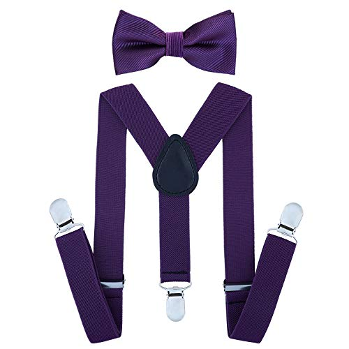 Child Kids Suspenders Bowtie Set - Adjustable Suspender Set for Boys and Girls(25Inches (5 Months to 6 Years),Purple)