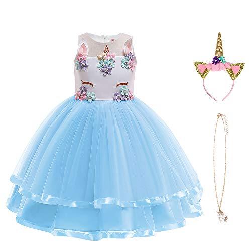 URAQT Disfraz Unicornio Niña, Vestidos Unicornio Niña, Disfraz de Princesa, para Fiesta de Cosplay, Boda, Partido,Vestido de Princesa 120 cm