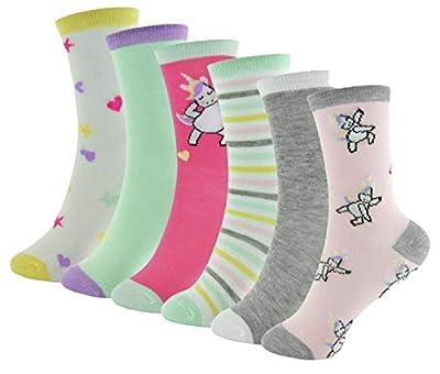 Thingimijigs 6 Pares de Calcetines Estampados de Unicornio para Niñas (27-30)