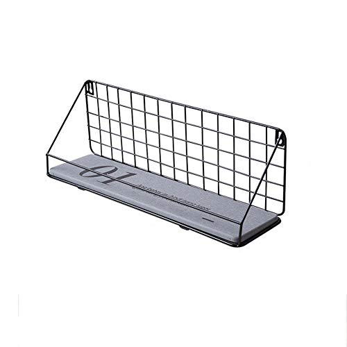 Wall Mounted Shelf, Black Iron Art Display Rack en Organizer, Gratis Ponsen Plank van de Muur for badkamer (29X12X15cm) 410 (Size : 44cm)