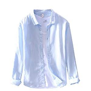 麻シャツ長袖 メンズシャツ リネンシャツ 綿麻シャツ カジュアルシャツ 通勤/学シャツ メンズ ファッション シャツ おしゃれ シンプル 無地 上着 コットン 折り襟 フィット感 通気吸湿 M-3XL 5色