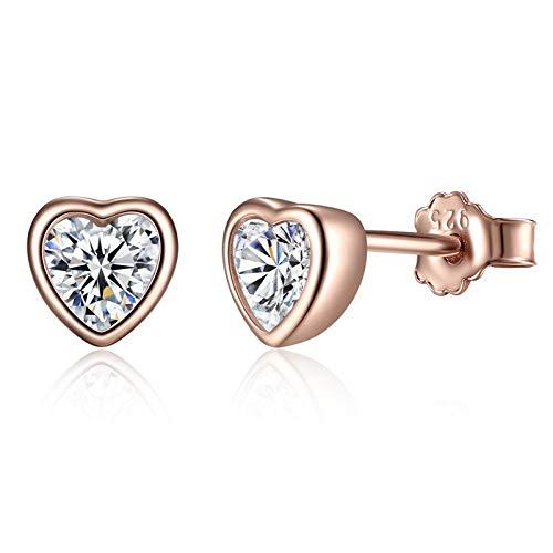 Deyanse 925 Sterling Silver Stud Earrings for Women and Girl, 5mm Small Cartilage Stud Earring, Heart-Shaped Rose Gold Stud Earring, White Cubic Zirconia Sleeper Earrings, Suitable for Sensitive Ears
