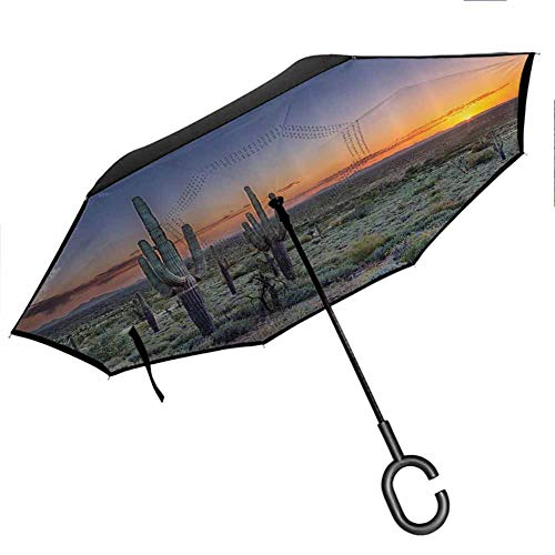 Saguaro Cactus Decor Collection Upside Down Umbrella with C-Shaped Handle Sunset Over The Phoenix Valley in Arizona Seen from Silly Mountain State Park Image Orange