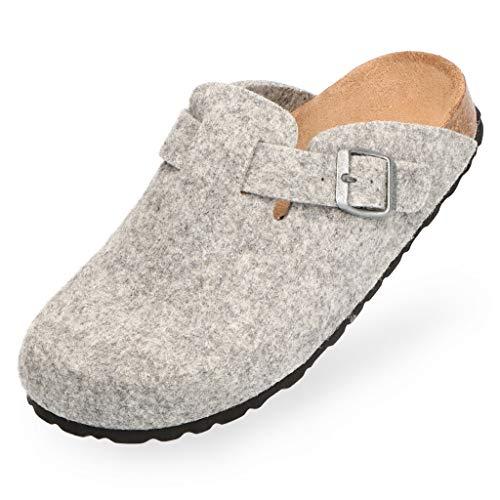 BOnova Wesel: Filzpantoffel in grau, Größe 43. Hausschuhe aus weichem Wollfilz, mit Kork-Fußbett, hergestellt in der EU