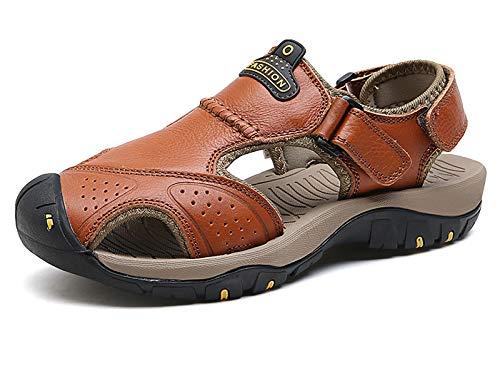 URVIP Herren Sport Sandalen Atmungsaktiv Outdoor Sommer Fischer Wandern Schuhe Geschlossener Toe Leder Faule Schuhe Braun-01 42 EU