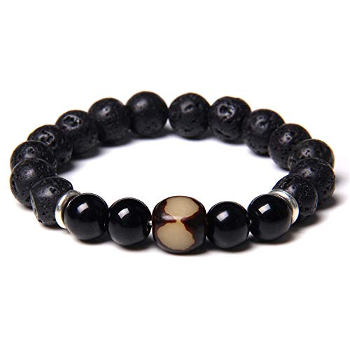 Handmade Stretch Stone Bracelets 10 Mm Lava Rock Stone Elastic Bracelets Handmade Men Lucky Vintage Buddhist Tibetan Agat Charm Beads Bracelet Essential Oil Aromatherapy Diffuser For Women Jewelry,6,2