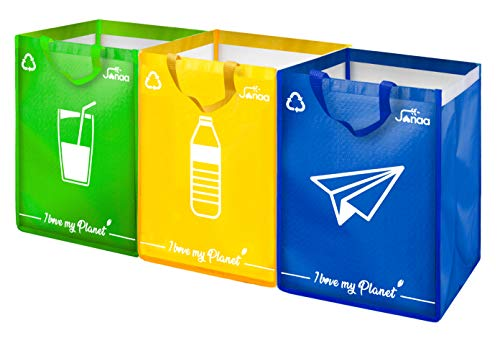 Janaa♻️Mülltrennsystem {Premium} Behälter zum Sortieren – mülleimer 3 fächer zur Sortierung von Glas, Kunststoff (40L) und Papier