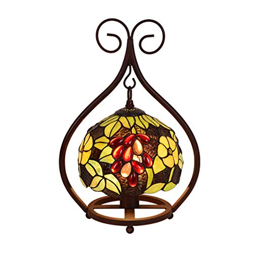 LXHK Tiffany Tischlampe Barock, 16 Zoll Weinlese Mittelmeer Pastoral Gorgeous Flowers Buntglas Schlafzimmer Lampe Nachttischlampe Dekoration Innenbeleuchtung E27