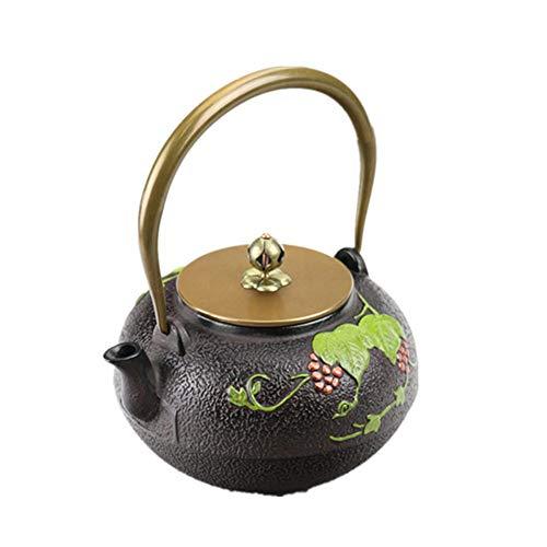 Tetera japonesa de hierro fundido estilo chino, tetera de hierro fundido que se puede calentar en cocina de inducción y estufa de gas, diseño de hoja verde, hierro fundido, negro, 1200ml