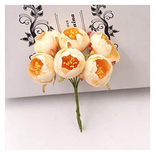 WANGJBH Trockenblumen 6 Teile/blumenstrauß Tee Rose knospe künstliche Blumen Hochzeit Weihnachten Dekorationen für Home DIY Handwerk Kranz Scrapbooking neues Jahr Künstliche Blume