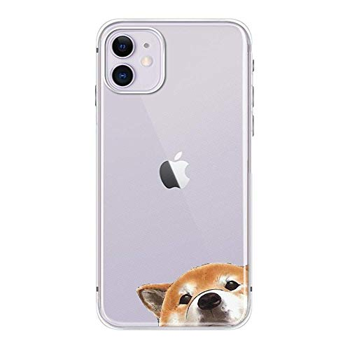 FancyCase Compatible with iPhone 11 Case-New Animal Pattern Soft Silicone Protective Clear iPhone 11 Case (Staring Dog)