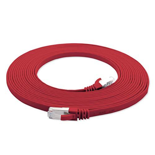 7,5m - CAT7 Cable de Red Plano Rojo - 1 Pieza 10 Gbit/s Gigabit LAN Piso Flaco Cable Patch Compatible con Compatible con CAT5 CAT6 CAT7 CAT8 Cat8 Cinta LAN Cable