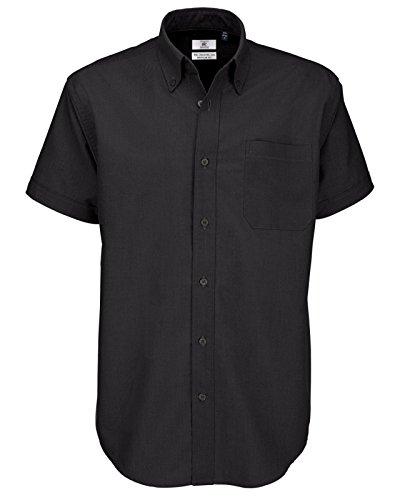 B&C Oxford - Camicia da uomo a maniche corte Nero (Nero 000) XXXX-Large