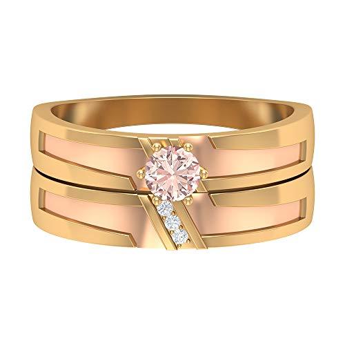 Rosec Jewels 14 quilates oro amarillo redonda round-brilliant-shape H-I Diamond morganita creada en laboratorio