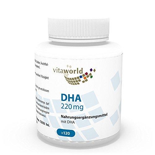 DHA 220mg Omega-3 120 Cápsulas Vita World Farmacia Alemania - Ácidos grasos - Docosahexaenoico - Pescado y Algas