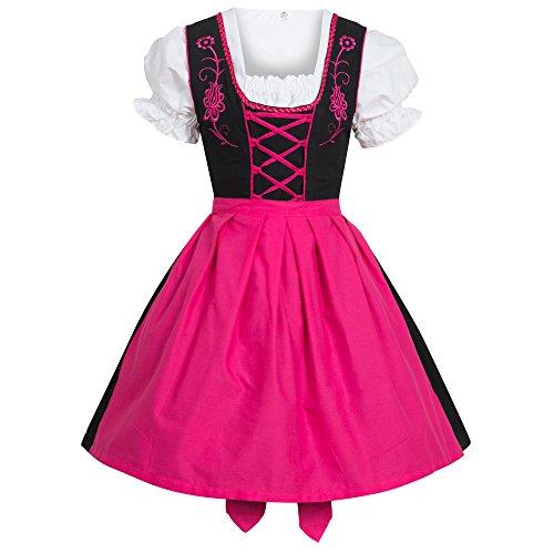 Gaudi-Leathers Dirndl Negro con Rosa Traje Tradicional de Tirolesa Vestido Moda Alemana de Oktoberfest carnevale para Mujer 38