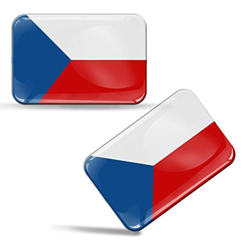 2 x sticker 3D gel siliconen stickers Tsjechische Republiek Czech Republic vlag vlag vlag auto motorfiets raam deur PC mobiele telefoon tablet laptop F 49