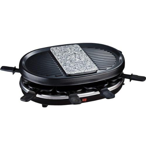 H.Koenig RP80 Raclette-Gerät / 8 Personen / Naturstein und Grillplatte / mit Pfännchen /  900 W / schwarz