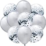 """Package Contains: 10 Pcs Silver Balloon and 10 Pcs Pre-Filled Silver Confetti Balloon Size: Large 9"""" Inches Perfect for Party Decoration GrandShop is the Registered Trademark"""