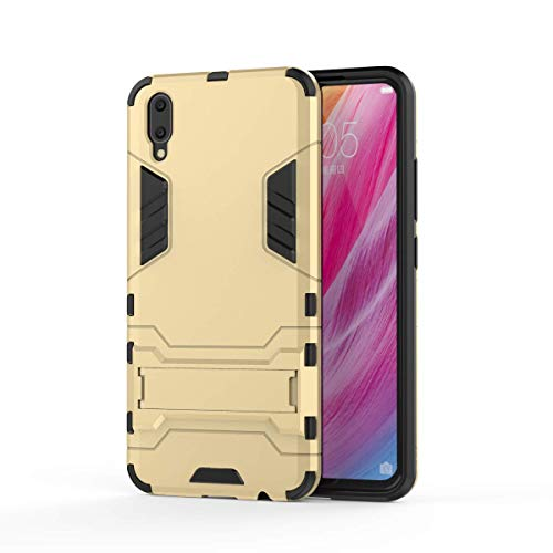 VIVO V11 Hülle, SsHhUu Stoßsichere Dual Layer Hybrid Tasche Schutzhülle mit Ständer für VIVO V11 / V11 Pro 2018 (6.41 Zoll) Gold