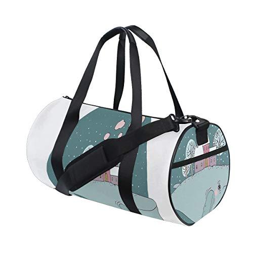 ZOMOY Sporttasche,Majestätischer Wal im Himmel, der Häuser mit rauchenden Kamin Bäumen auf seinem zurück trägt,Neue Bedruckte Eimer Sporttasche Fitness Taschen Reisetasche Gepäck Leinwand Handtasche