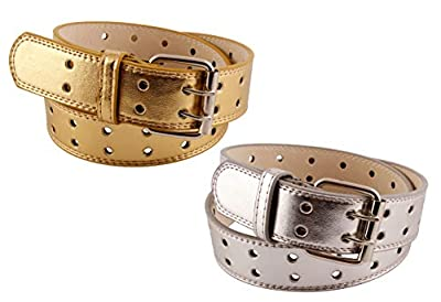 2 Pack Kids Faux Leather Two Hole Belt (Medium, Gold & Silver)