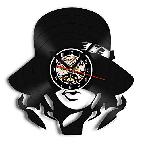 Reloj de Pared de Vinilo Mujer tímida Disco Retro Arte Creativo Regalo Moderno decoración del hogar Reloj 12 Pulgada(Sin Luces)