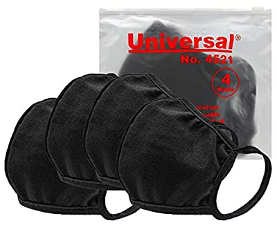 Universal 4521 Cloth Face Masks – Reusable Nose & Mouth Mask, 100% Cotton, 2 Layer, Washable Facemask, Teens & Adults – Protects from Dust, Pollen, Pet Dander & Other Irritants (4 Masks)