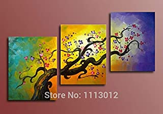 DIU Hand Painted Home Decoration 3 Panel Set Abstract Yellow Red Flower Tree Oil Painting On Canvas Wall Art Picture For L...