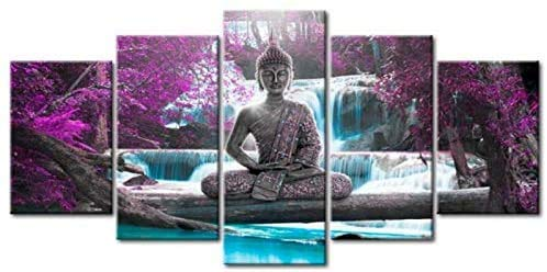 Deals Buddha Waterfall 5 Piece HD Multi Panel Canvas Wall Art Frame (Medium(20x35 20x45 20x55cm))
