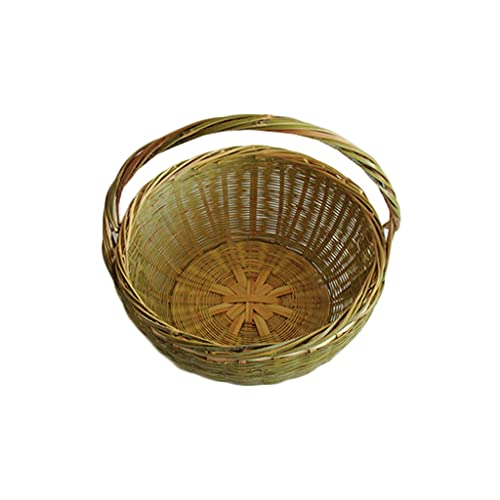 EPOU Einkaufskorb Hochwertiger Bambuskorb, Reine handgefertigte Bambus-Speicherkörbe Fruchtkörbe, Picknickkorb im Freien wiederverwendbarer Lebensmittelkorb (Color : A)