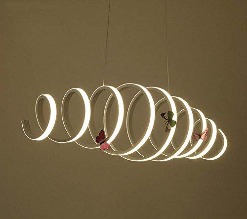Lámpara de luz Ajustable Lámpara de araña Retro Lámpara de suspensión de Espiral Lámpara de Hierro Lámpara Industrial Lámpara de suspensión (Color : External Light, Size : White Light)