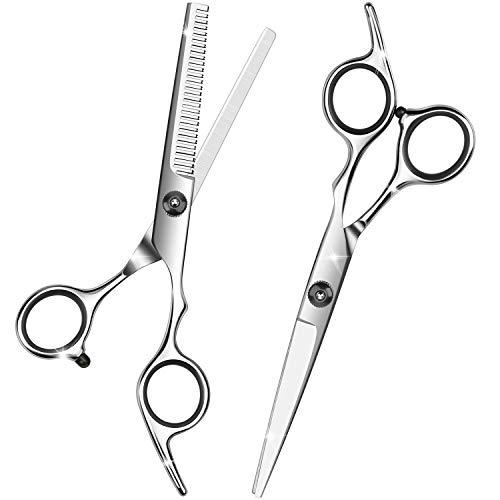 Friseurschere Set, Profi Haarschere und Effilierschere, Edelstahl Haarschneideschere für Damen, Herren, Kinder - Silber
