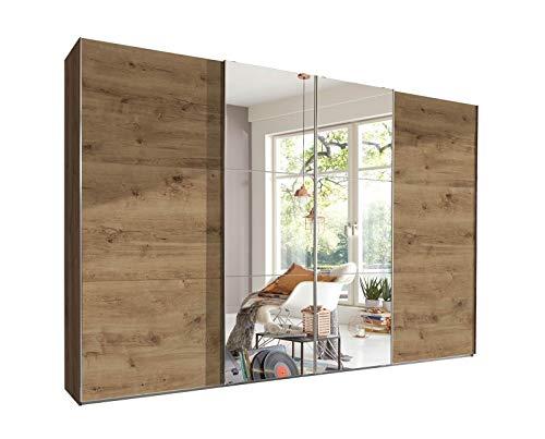 lifestyle4living Kleiderschrank 4-türig in Plankeneiche-Dekor/Spiegel | Schwebetürenschrank mit viel Stauraum, ca. 300 cm breit