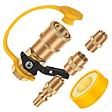 GORNORVA 5PCS RV Propane Quick Connecting Adapter with Teflon Tape,Gas Quick Connect Fittings Includes 1/4' Female Shutoff Valve &Full Flow Plug & 1/4' Male NPT &1/4' Female NPT for RV,Trailer,BBQ