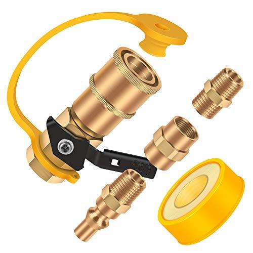 GORNORVA 5PCS 1/4' RV Propane Quick Connecting Fittings with Teflon Tape,Gas Quick Connect Fittings Includes 1/4' Female Shutoff Valve &Full Flow Plug,1/4' Male &1/4' Female NPT for RV,Trailer,BBQ