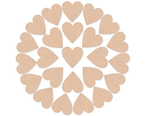 DS. DISTINCTIVE STYLE 50 Pieces 2 Inches Blank Wood Hearts Slices Discs Wedding Christmas Ornaments Crafts Supplies Heart Cutout Shape Unfinished Wood