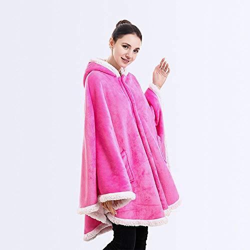 Ririhong Tragbare Hoodie-Decken für Erwachsene Schal Umhang Coral Plüsch Cape Throw Blanket Warme Dicke TV-Kapuzenpullover Decke-Rose_red_One_Size_for_All