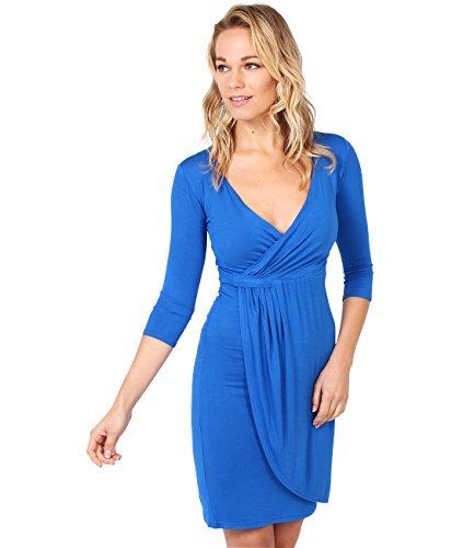 KRISP Vestido Moda Mujer Fruncido, Azul Eléctrico (6174), 36, 6174-ROY-08