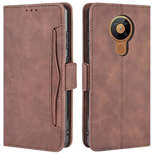 HualuBro Handyhülle für Nokia 5.3 Hülle Leder, Flip Hülle Cover Stoßfest Klapphülle Handytasche Schutzhülle für Nokia 5.3 Tasche (Braun)