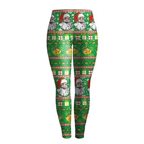 LCHENX-Leggings con Estampado Digital Santa Christmas para Mujer,Leggings de Yoga de Longitud Completa Fitness Running Medias de Pilates Pantalones Pitillo,C,L