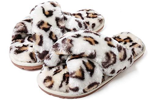 Cross Band Slippers, Women Soft Plush Furry Cozy Open...
