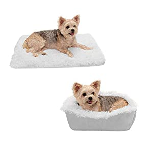 Furhaven Pet Dog Bed – Convertible Insulated Thermal Self-Warming Mat Plush Faux Fur Cuddle Nest Lounger Pet Bed for Dogs and Cats, Silver, Small