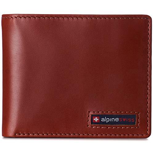 Alpine Swiss Herren-Geldbörse aus Rindsleder, RFID-blockierend, 2 Ausweis-Fenster, geteilte Geldscheine, in Geschenkbox - Braun - Einheitsgröße