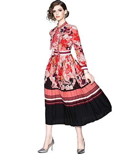 Damen Elegant A-Linie Midikleid mit Blumenmustern 3/4 Arm & Kurze Casual Party Kleider, Rot-1, 40
