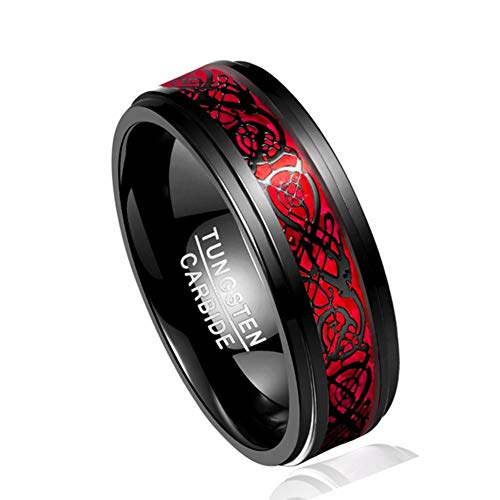 Corato 8mm Black Celtic Dragon Tungsten Ring Red Opal Inlay Polished Step Edges Engagement Wedding Rings Comfort Fit Size 8.5
