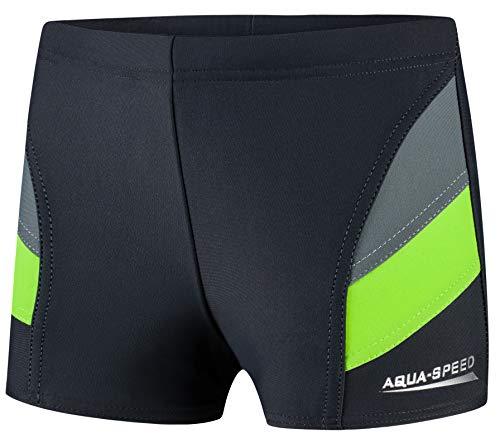 Aqua Speed Enge UV Badehose für Jungs + gratis eBook | Wettkampf Schwimmhose Jungen | Sport Schwimmbekleidung Kinder | 38. Grau Grün Gr. 134 | Andy