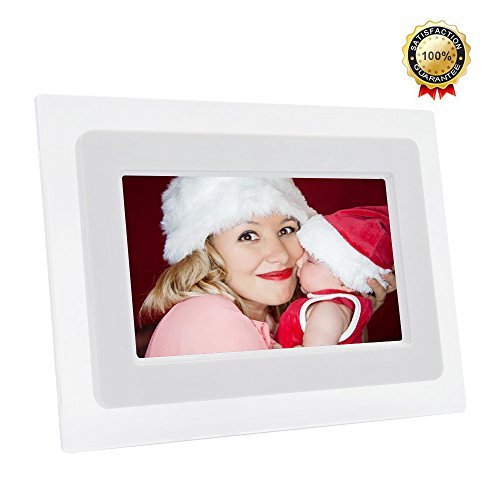 7-Inch Digital Photo Frame TFT LCD Screen with Auto- Play/Calendar/Clock Function, 800x480 High Resolution- Support 32GB SD Card (White) Camera Digital Features Frames Photo Picture